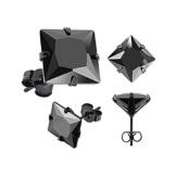 1 Paar Ohrstecker Zirkonia Edelstahl Damen Herren Ohrringe Kristall schwarz transparent -