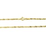 14 kt / 585 Gold Singapur kette Halbmassiv Zweiseitig Diamantiert 3 mm , Länge wählbar (50) -