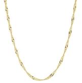 14 kt / 585 Gold Singapur kette Halbmassiv Zweiseitig Diamantiert Unisex , Länge wählbar (60) -