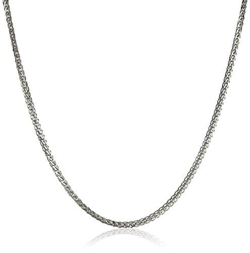 18 Karat Weißgold, schöne Diamantschliff Spiga weizen Kette, Länge wählbar (60) -