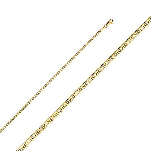 18 Kt. / 750 gold 3 mm Italienisch Flach Mariner Kette - verschiedene Längen (60) -
