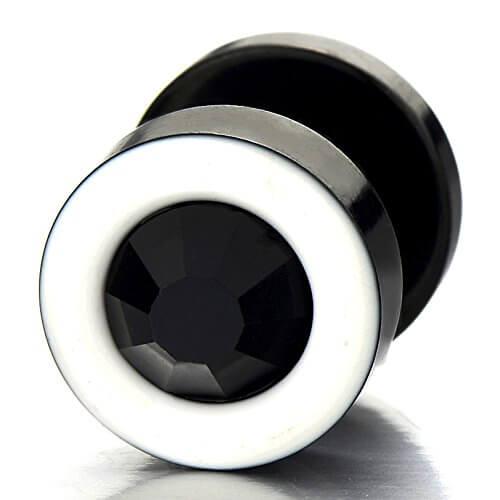 2 Weiß Schwarz Herren Damen Ohrringe Edelstahl Ohrstecker Fake Plugs Tunnel Ohr-Piercing mit 6mm Schwarz Zirkonia -