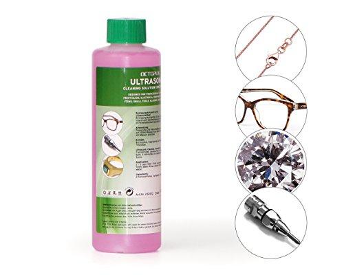 250ml Ultraschallreiniger Konzentrat für Ultraschallbad mit extra Glanz- und Klarsichtverstärker, als Brillenreiniger, Schmuckreiniger für Optik und Mechanik mit Fettlösekraft -