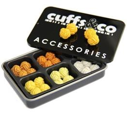 6 Paar Seidenknoten Manschettenknöpfe Geschenk-Set, Shades Cuffs & Co, Textil, Golden Sun -