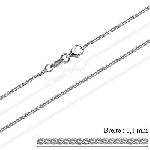 aion Goldkette Massiv Gold 585 Zopfkette Weißgold 14 Karat Halskette Herren Damen 40 - 60cm 1,1 mm (45) -