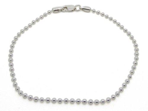 Amberta 925 Sterlingsilber Damen-Armkette - Kugelkette Armband - 2 mm Breite - Verschiedene Längen: 18 19 cm (19cm) -