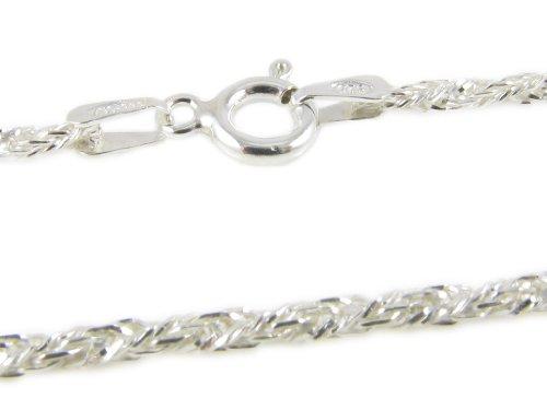 Amberta 925 Sterlingsilber Damen-Halskette - Weizenkette - 1.8 mm Breite - Verschiedene Längen: 40 45 50 55 60 cm (60cm) -