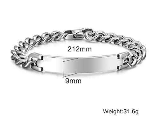 AMDXD Mode Schmuck Edelstahl Armband Silber Link Panzerkette Panzerarmbänder 21.2CM -