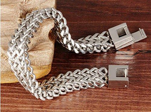 AMDXD Schmuck Edelstahl Armband Silber Groß Link Panzerkette Panzerarmband für Männer 21CM -