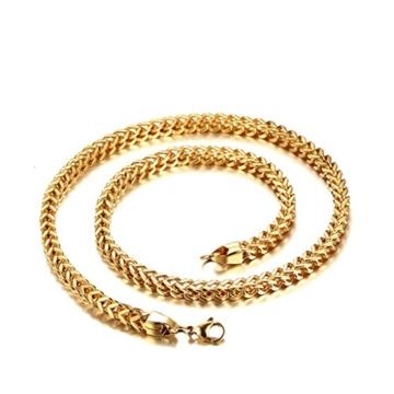 Beydodo Edelstahl Halsketten für Herren (Anhänger Halskette),Doppel Bordstein Link Silber /Gold 22 In -