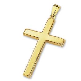CLEVER SCHMUCK Goldener Anhänger großes Kreuz 28 mm schlicht glänzend 333 GOLD 8 KARAT im Etui -