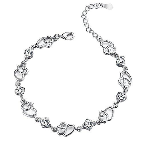 Contever® Charm & Bead ELEMENTS Kristall Armbänder 925 Silber Armreif für Damen (Silber) -