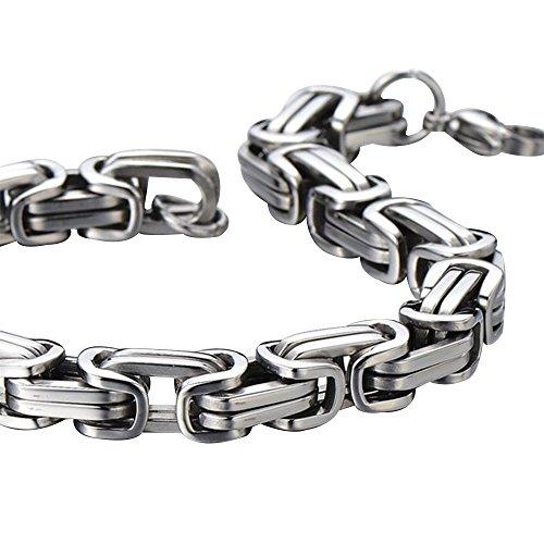 Contever® Edelstahl Armband Link Handgelenk Königskette Bracelet Punk Rock Herren Männlich Silber Farbe 23 cm (L) x 0.8cm (W) -