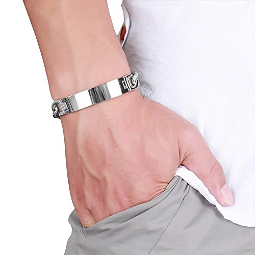 Contever® Mode Schmuck Titan Edelstahl Armreifen Armschmuck Armband für Männer in Polierte Panzerkette Silber Farbe 21,2 x 0.7CM -