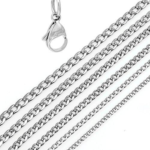 DonDon® Herren Halskette Panzerkette Edelstahl Länge 52 cm - Breite 0,4 cm -