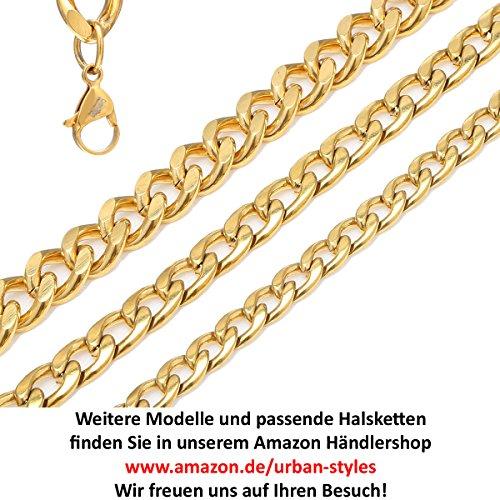 DonDon Herren Panzerketten Armband Edelstahl gold Länge 22 cm - Breite 1,1 cm -