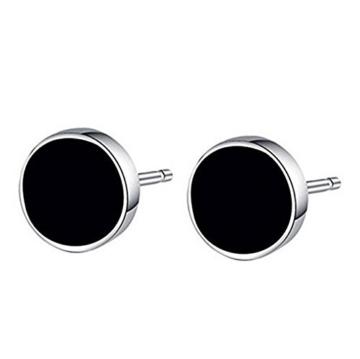 Fasio Damen Herren 925 Sterlingsilber Schwarz Runde Ohrringe Ohrstecker Durchmesser 8mm -