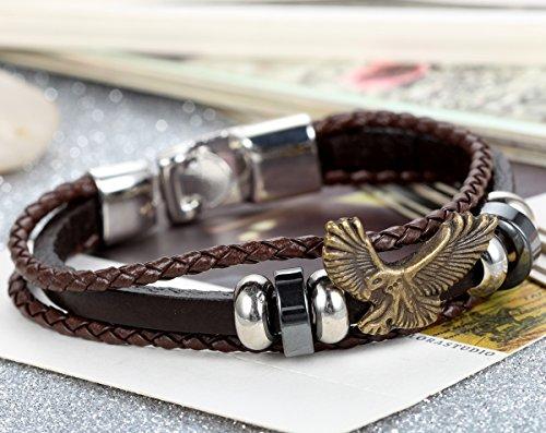 Flongo 2 Stückes Metalllegierung Legierung Leder Armband Armreif Manschette Schwarz Braun Silber Adler Eagle Ringe Kugeln Motorradfahrer Biker Herren -
