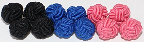 GENTLEMAN: 10 hochwertige einfarbige Seidenknoten Manschettenknöpfe -