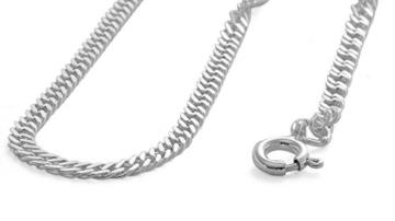 Halskette Damen Herren 925 Silber 3mm breit diamantierte doppel Panzerkette Rombo 45 50 55 60 70 80cm #1212 (50) -