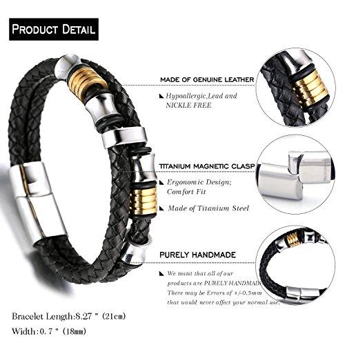 """Halukakah """"EHRE"""" Herren Echt-Leder Armband Schwarz mit Titan Perlen Gold&Silber 8.46""""(21.5cm) Magnetisch mit Kostenlosem Geschenkbox -"""
