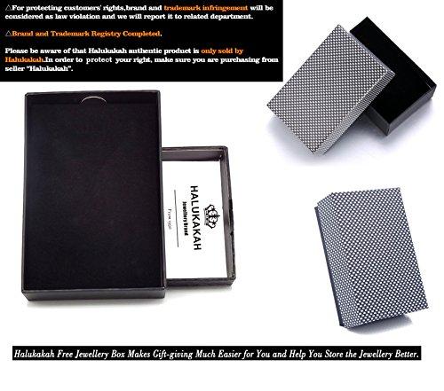 """Halukakah """"SOLO"""" Herren Echt-Leder Armband Schwarz mit Titan Perlen Silber 8.46""""(21.5cm) Magnetisch mit Kostenlosem Geschenkbox -"""