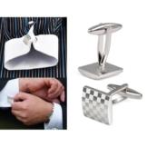 Herren Edelstahl Geschaefts-Hemd Silver Square Lattice Hochzeit Manschettenknoepfe -