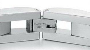 Herrenarmband aus massivem Edelstahl von Gariella®, in silber mit schwarzer Einlage /Männerarmband (G4006) -