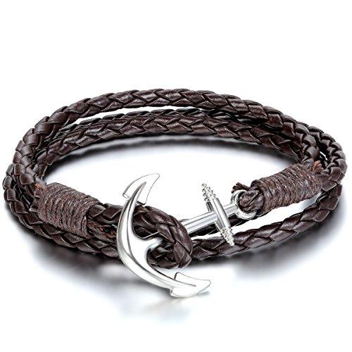 JewelryWe Schmuck 2pcs Herren Damen Armband, Geflochten Anker Armreif, Leder Legierung, Schwarz Braun Silber -