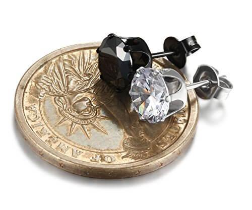 Jstyle Edelstahl 6 Paare Ohrstecker Ohrringe Zirkonia Ohrschmuck Ohrclips Creolen für Damen und Herren 3-8mm in Farbe schwarz und weiß -