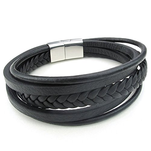 KONOV Schmuck Herren Damen Armband, Geflochten Armreif, Magnet Verschluss, Leder Echtleder Edelstahl, Schwarz Silber -