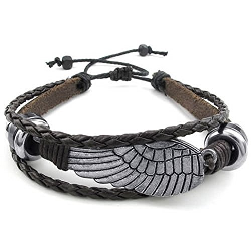 KONOV Schmuck Herren Damen Armband, Retro Flügel, 18-23cm Verstellbaren Größen, Leder Legierung, Braun Silber -