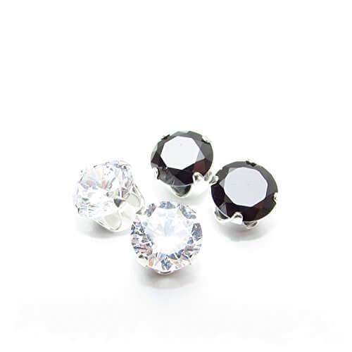Lagerräumung. 2 Paar Herren Silber Ohrstecker mit Kristall und Schwarz AAA Zirkonia gemacht. -