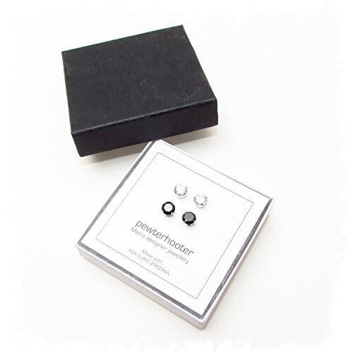 lagerr umung 2 paar herren silber ohrstecker mit kristall. Black Bedroom Furniture Sets. Home Design Ideas