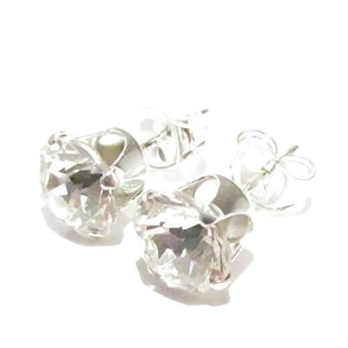 Lagerräumung. Herren 925 Silber Ohrstecker handgefertigt mit funkelnden Kristall aus SWAROVSKI®. -