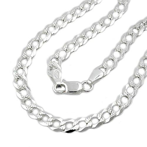Latotsa Silberkette Sterling Silber 925 Panzer Kette Halskette Panzerkette Schmuck flach mit Muster Collier 45cm -