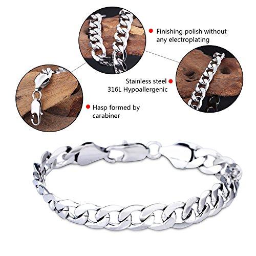LDUDU® Edelstahl Armband Link Handgelenk Silber Polished Herren Geschenk für Geburtstag, Valentinstag, Weihnachten -