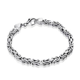 MATERIA Königskette Silber Herren Armband 5,4mm 31,5g diamantiert rhodiniert in 21cm / 23cm inkl. Box #SA-10, Länge:21 cm -