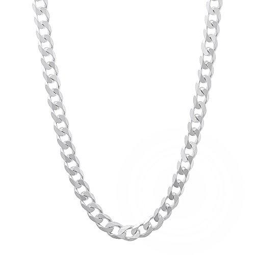Men's 3,7 mm-echt 925 /-Sterling Silber Panzerkette Halskette Kette Cuban Link -