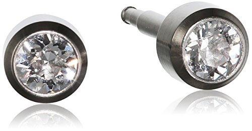 Pure Grey Unisex-Ohrstecker Titan Zirkonia Erstohrstecker weiß 304 -