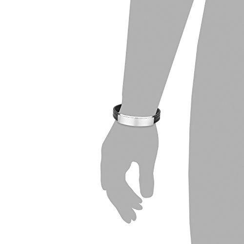 s.Oliver Jewel Herren Armband Edelstahl Leder 21.50 cm 489270 -