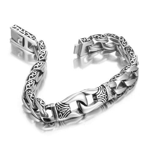Sagenhaftes Edelstahl Herren Glieder Armband Silber Schwarz 23cm (Mit Marken Geschenkschachtel) -