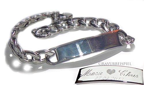 Schildarmband aus Edelstahl mit Gravur - Armband, Armkette, Armreif für Sie und Ihn inkl. Gravur -