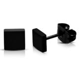 Schwarze Edelstahl Ohrstecker Ohrringe Eckig für Damen und Herren 5mm (2 Stück / 1 Paar) -