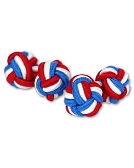 Seidenknoten Manschettenknöpfe   Knoten   Blau-Weiß-Rot   Stoff Seidenknötchen   Handgefertigt   Für jedes Hemd mit Umschlagmanschette Manschette -
