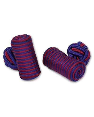 Seidenknoten Manschettenknöpfe | Zylinder Knoten | bordeaux-rot blau | Stoff Seidenknötchen | Handgefertigt | Für Hemd + Umschlagmanschette Manschette -