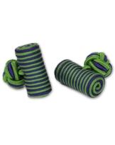 Seidenknoten Manschettenknöpfe | Zylinder Knoten | grün blau | Stoff Seidenknötchen | Handgefertigt | Für Hemd mit Umschlagmanschette Manschette -