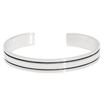 Silverly Frauen Männer 925 Sterling Silber aus oxidiertem und poliertem Gefüttert Solide Stulpe Armband -