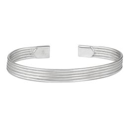 Silverly Frauen Männer .925 Sterlingsilber poliert Multi Band Linie Ärmelbündchen mit verstellbarem Armband -