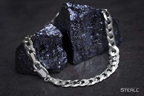 STERLL Herren-Armband aus massivem 925 Silber, 23 cm lang, ideal als Geschenk für Mann oder Freund, mit Schmuckbox -